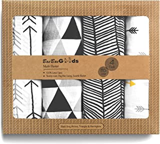 Muslin Swaddle Blankets – Soft Pure Cotton Muslin Blankets – 4 Pack of Breathable Swaddle Blankets – Unisex Baby Swaddle B...