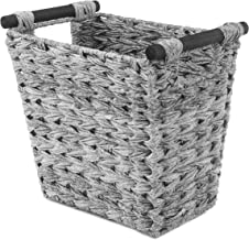 Whitmor Split Rattique Waste Basket with Wood Handles - Gray Wash