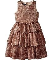 Oscar de la Renta Childrenswear Crinkle Lame Tiered Dress (Toddler/Little Kids/Big Kids)