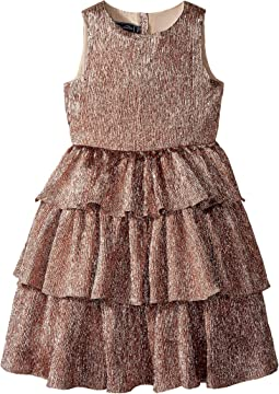 Oscar de la Renta Childrenswear Crinkle Lame Tiered Dress (Toddler/Little Kids/Big Kids)