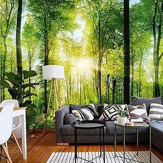 murimage Papel Pintado Bosque 3D 366 x 254 cm incluye pegamento Fotomurales Vista madera árboles luz del sol living sala