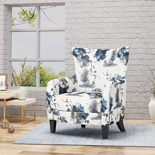 Christopher Knight Home 305563 Oliver Fabric Club Chair Print Dark Brown