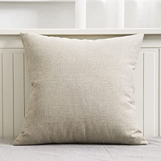HOME BRILLIANT Burlap Linen Decorative Throw Pillow Cover for Couch Sofa Bench, Slub Textured, 18 x 18 Inches, Light Linen