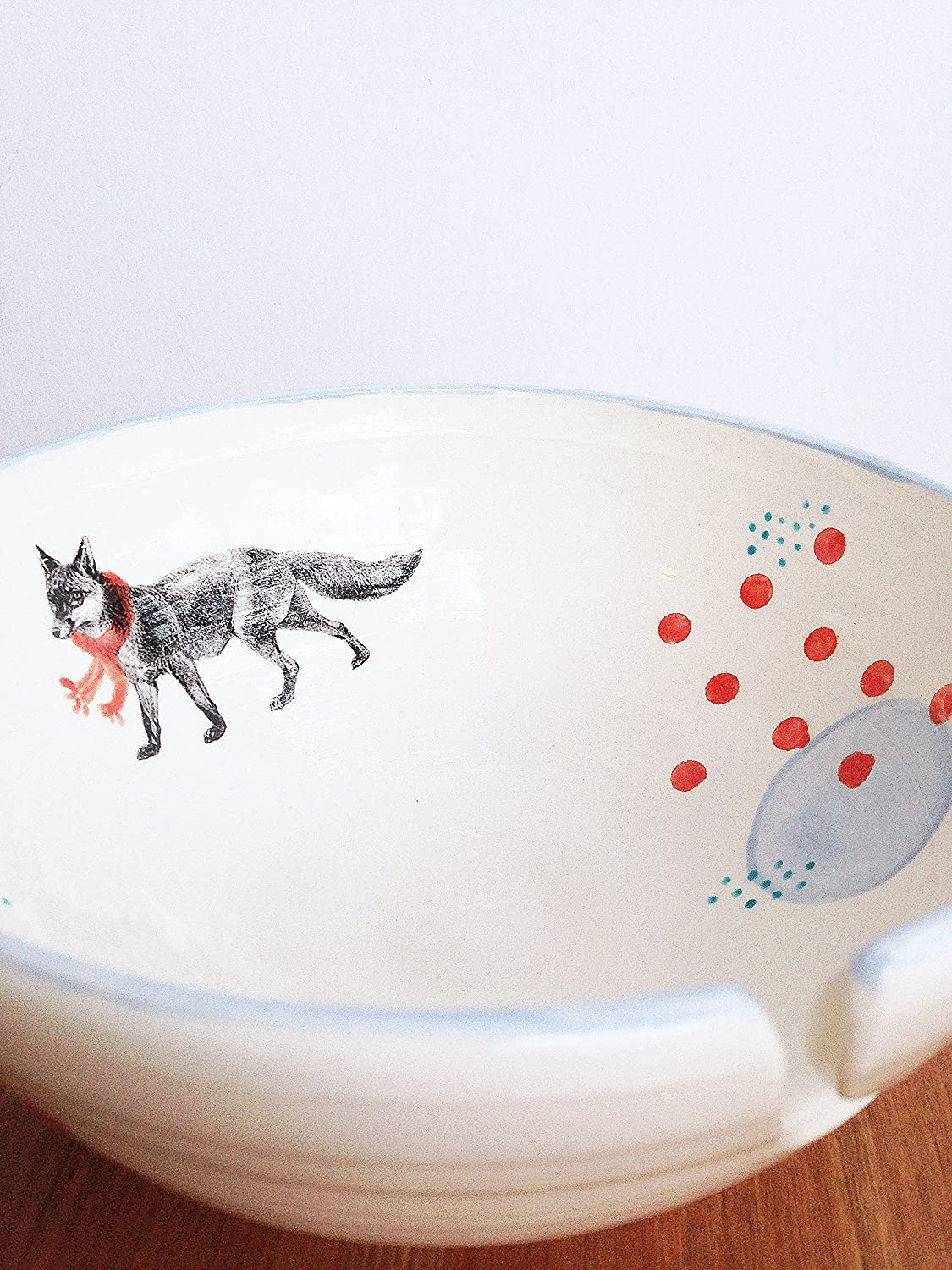 Modern Yarn Bowl Excellence with Outstanding Fox Pottery and Polka Dots