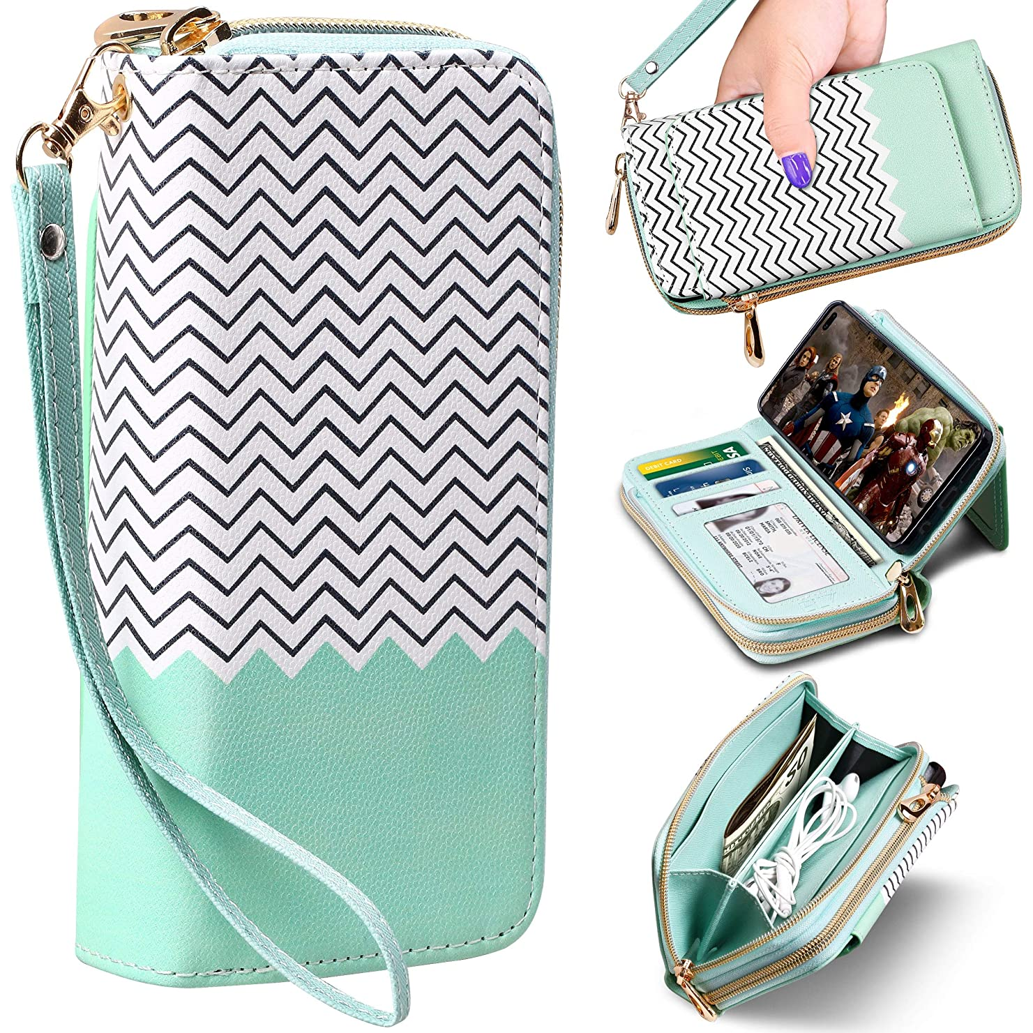 """ELV Luxury Handcrafted Purse Series Designed for Samsung Galaxy S10 Plus Case, PU Vegan Leather Wallet Case Cover for Galaxy S10+ (6.4"""") with Kickstand, Detachable Phone Case & Card Slots (Mint)"""