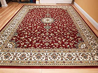 New Traditional Area Rugs 5x8 Persian Area Rug with Medallion 5x7 Red Cream Beige Rugs for Living Room Prime, 5x8 Carpet
