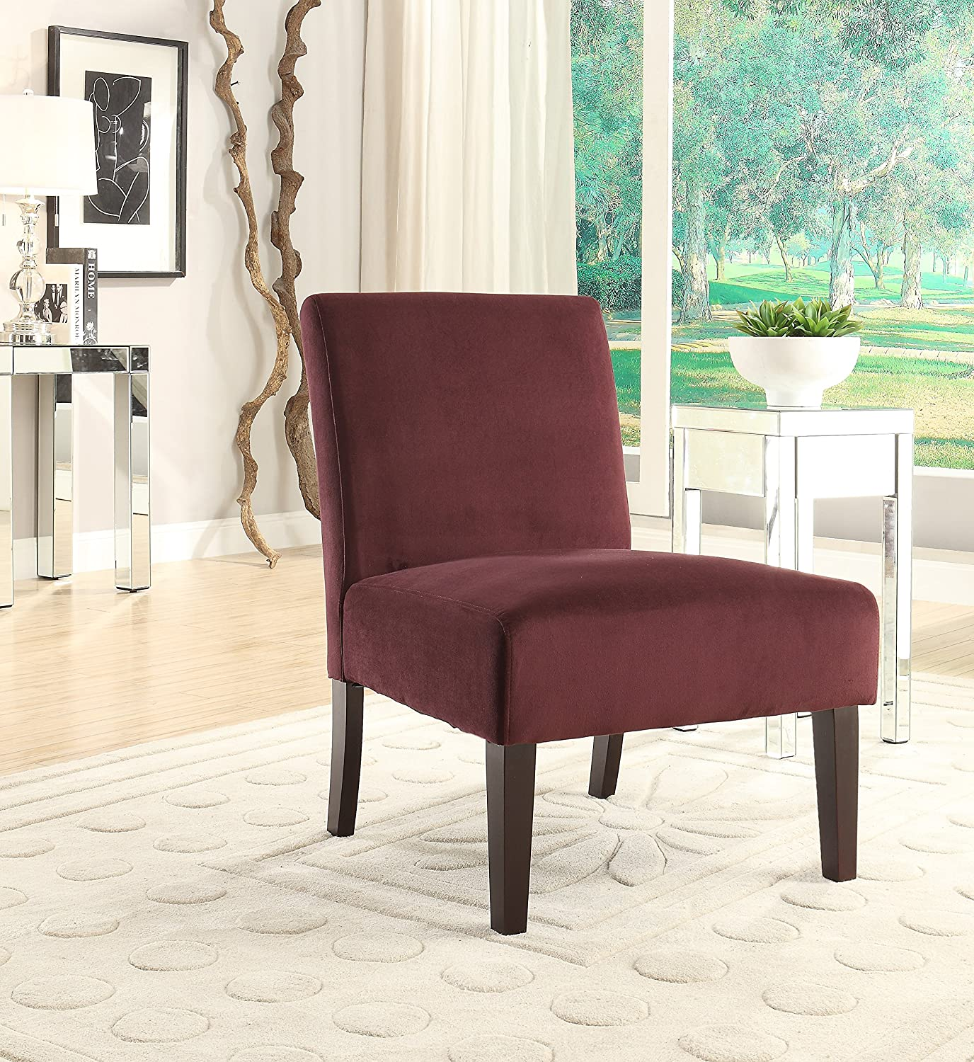 AVE SIX Laguna Accent Chair with Espresso Finish Solid Wood Legs, Port Velvet Fabric