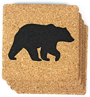 Black Bear Cork Coasters 4 Pack Log Cabin Decor for Lodge Home Kitchen and Bar Gift