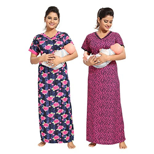 77d9485ed8 TUCUTE Women Beautiful Print with Invisible Zip + Floral Print Feeding  Maternity Nursing Nighty