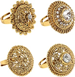 Zaveri Pearls Combo of 4 Ethnic Finger Rings - ZPFK6031