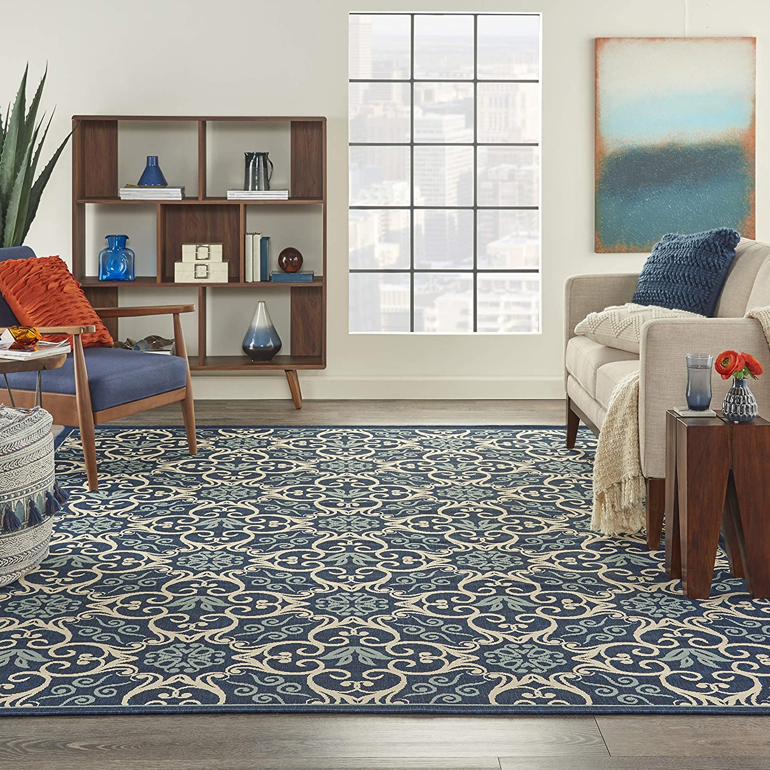 Nourison Caribbean Navy Max 63% OFF Transitional Botanical Outdoor Department store Ar Indoor