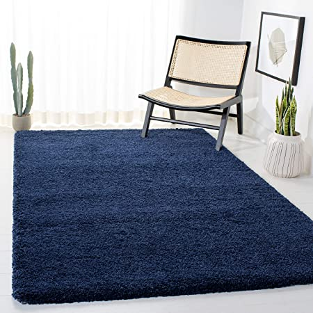 Amazon Com Safavieh Milan Shag Collection Sg180 Solid 2 Inch Thick Area Rug 3 X 5 Navy Furniture Decor