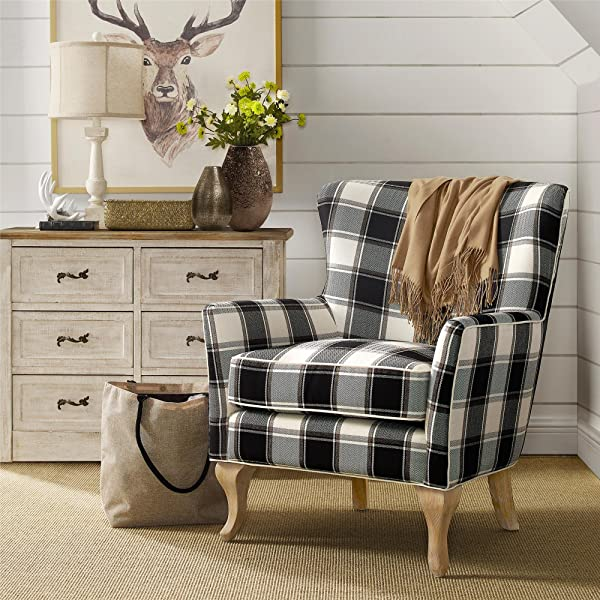 Dorel Living Middlebury Checkered Pattern Accent Chair Black White Checkered