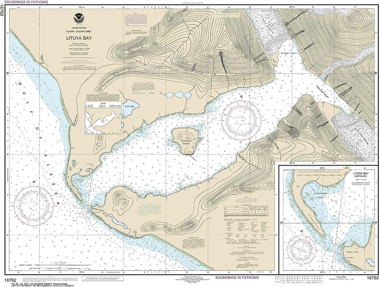 NOAA Chart 16762 Lituya Bay;Lituya Bay Entrance  26.18  X 34.36  Laminated Map