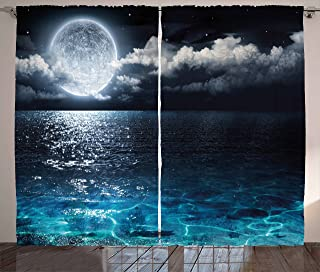 Ambesonne Night Sky Curtains, Full Moon and Foggy Clouds with Turquoise Glass Like Sea Ocean Print, Living Room Bedroom Window Drapes 2 Panel Set, 108 W X 63 L Inches, Dark Blue and White