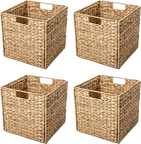 Trademark Innovations Foldable Hyacinth Storage Baskets With Iron Wire Frame Set Of 4
