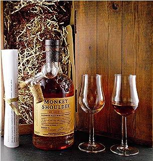 Geschenk Monkey Shoulder Blended Malt Whisky  Glaskugelportionierer 2 Bugatti Gläser