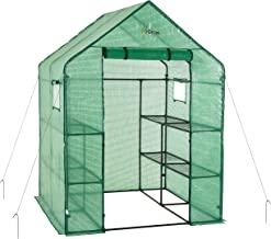 OGrow OG6868-PE Deluxe Walk-in 2 Tier 8 Shelf Portable Lawn and Garden Greenhouse - Heavy Duty Anchors Included!