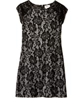 Us Angels - Short Sleeve Bonded Glitter Lace Sheath Dress (Big Kids)