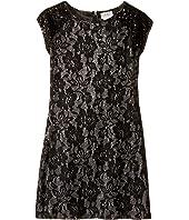 Us Angels - Short Sleeve Bonded Glitter Lace Sheath Dress (Big Kids)