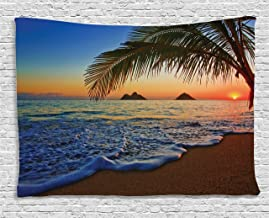 Ambesonne Hawaiian Tapestry, Pacific Sunrise at Lanikai Beach Hawaii Colorful Sky Wavy Ocean Surface Scene, Wide Wall Hanging for Bedroom Living Room Dorm, 80