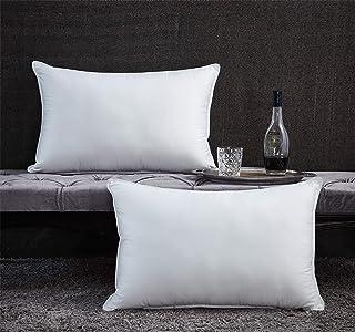 Egyptian Bedding Premium Goose Down Pillow - 1200 Thread Count Egyptian Cotton, Medium Firm, Queen Size, White Color