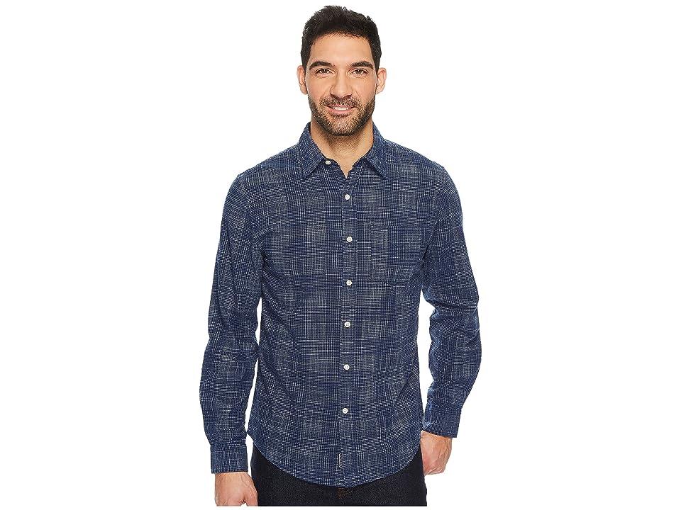 U.S. POLO ASSN. Slim Fit Stripe, Plaid or Print Long Sleeve Sport Shirt (Classic Navy) Men