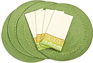 مفرش المائدة دي آي آي آي من الحمضيات المضفر مع نقوش نبات النفل الأخضر / الأخضر الصيفي، مجموعة من 8 قطع