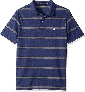 Men's Classic Fit Stripe Short Sleeve Pique Polo Shirt