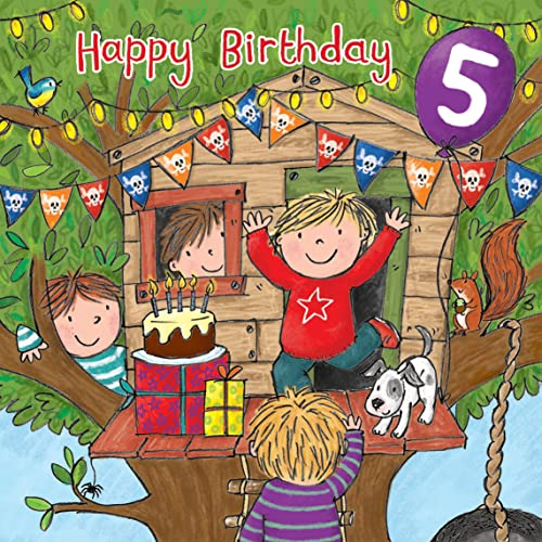 Twizler 5th Birthday Card For Boy With Cake Dog Treehouse Presents And Glitter