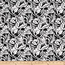 Telio Viscose Challis Print Leaf Fabric, Black White, Fabric By The Yard
