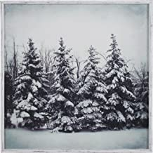 Modern Black and White Print of Forest Snow, White Frame, 20