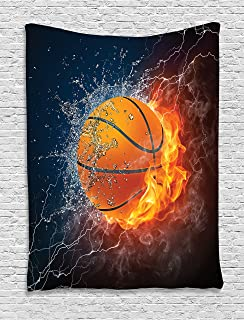 Ambesonne Sports Decor Collection, Basketball Ball on Fire and Water Flame Splashing Thunder Lightning Image, Bedroom Living Room Dorm Wall Hanging Tapestry, Navy Blue Orange White