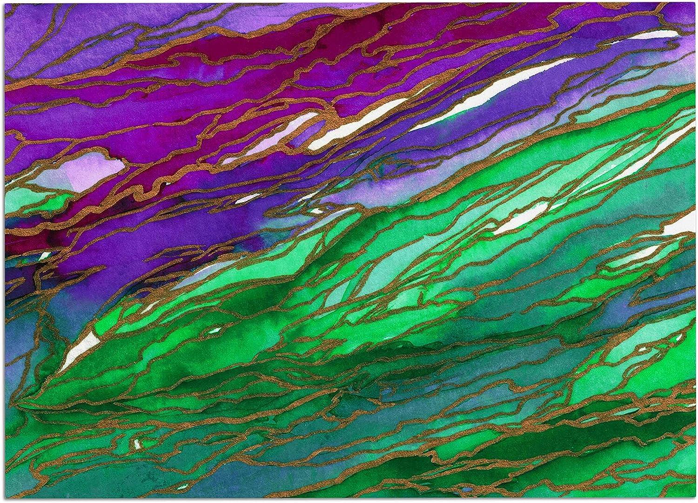 KESS InHouse JD1255ADM02 EBI Emporium Agate Magic  Lime Purple Green Lavender Dog Place Mat, 24  x 15