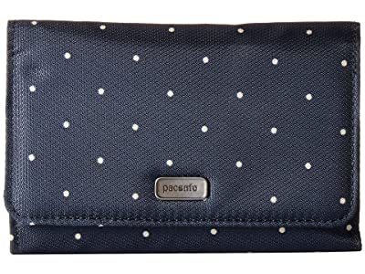 Pacsafe Daysafe RFID Blocking Trifold Wallet (Navy Polka Dot) Wallet Handbags