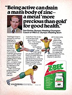 1981 Dan Gable -Wrestling -Z-Bec Vitamin Original Magazine Ad- Olympic Champion