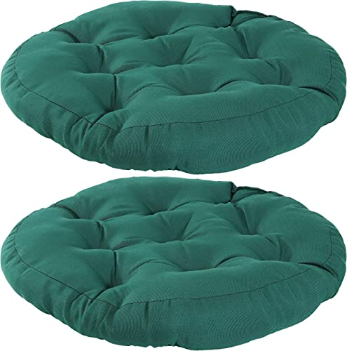 popular Sunnydaze high quality Tufted Large Round Floor Cushion - Set of lowest 2 - Unique Outdoor/Indoor Chair Cushions or Meditation Cushions - 300D Olefin with Polyester Fill - 22-Inch Diameter - Dark Green online