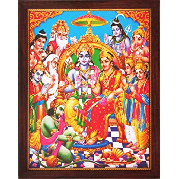 A Elegant and D/écor Combination of Print with for Home and Office and Gift for Auspicious Purpose Must for Home and Office and Gift 243-20 Ganesha and Saraswati Handicraft Store Lakshmi