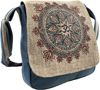 Natural Hemp-Cotton Eco Mandala Cross body Messenger Bag-Blue-One Size