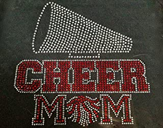 Cheer Mom with Clear Horn Red Cheer Mom Text Rhinestone Transfer Iron On