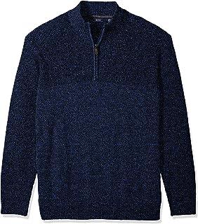 IZOD Men's Slim Fit Newport Marled Quarter Zip 7 Gauge Textured Sweater