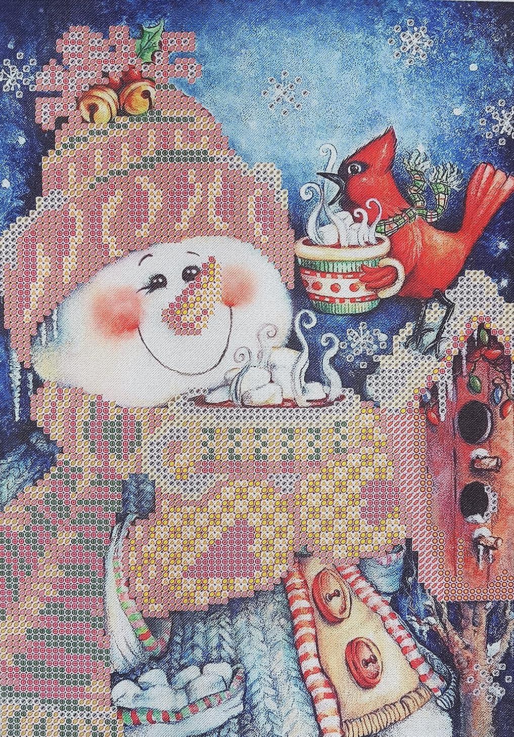 Bead Embroidery Kits Merry Christmas Snowman Needlepoint Pattern Winter Wall Decor Beaded Crossstitch kit Christmas Wall Art Bordado Broderie Perle