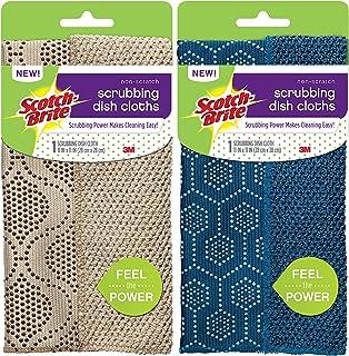 Scotch-Brite 3M Chiffons de Cuisine Non-Scratch Scrub Dots Scrubbing Dish Cloth / 1-Pack (Beige)
