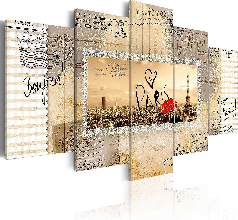 Murando - Bilder 200x100 cm Vlies Leinwandbild 5 TLG Kunstdruck modern Wandbilder XXL Wanddekoration Design Wand Bild - Eiffelturm Paris City Stadt Postkarte d-A-0010-b-m B00UC3GX7Y
