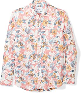 28 Palms Men's Relaxed-Fit Long-Sleeve 100% Linen Reverse Print Shirt, Washed