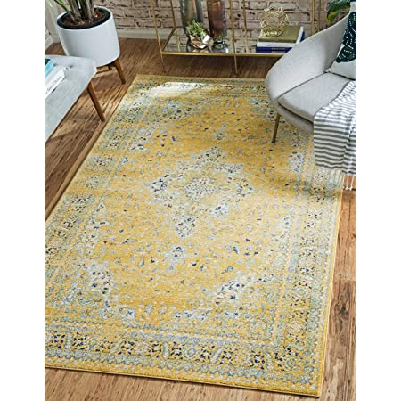 Amazon Com Antep Rugs Comfort Zone Collection Anatolian Art Vintage Area Rug 92 L X 60 W Yellow Home Kitchen