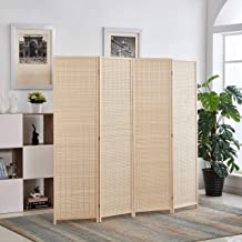 Rose Home Fashion 6 ft. Tall-Extra Wide, Bamboo Room Divider, 4 Panel Room Divider/Screen, Folding Privacy Screen Room Divider,Wall Divider,Room Partitions/Separator/Dividers-Bamboo - 4 Panel