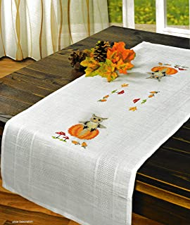 Printed Stamped Cross Stitch Table Runner Kit for Embroidery (Halloween 6903)
