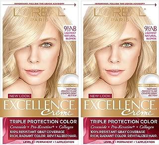 L'Oréal Paris Excellence Créme Permanent Hair Color, 9.5NB Lightest Natural Blonde, 2 COUNT 100% Gray Coverage Hair Dye