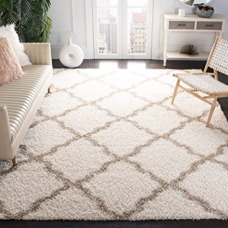 Amazon Com Safavieh Dallas Shag Collection Sgd257b Trellis 1 5 Inch Thick Area Rug 8 X 10 Ivory Beige Furniture Decor